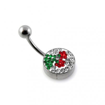 Red Cherry With Leaf Crystal Studded Design With SS Bar Belly Ring