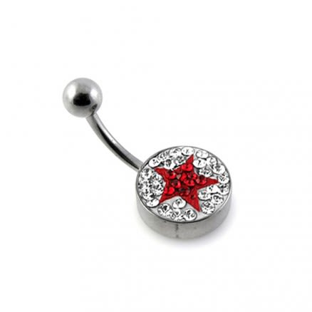 Red Crystal Star Studded With 316L Steel Bar Navel Ring