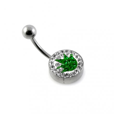 Green Crystal Merijuana logo With Steel Bar Banana Belly Ring