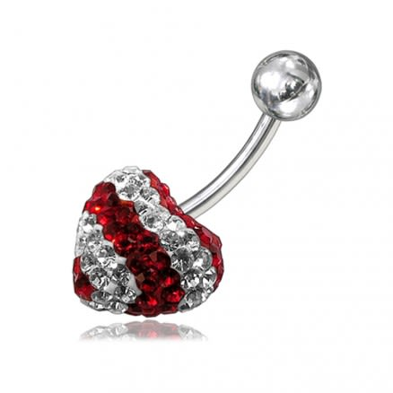 Crystal stone Heart With Banana Bar Belly Button Ring