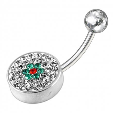 925 Sterling Silver Fancy Logo Jeweled Belly Ring With Steel Base
