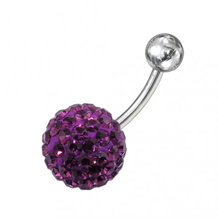 Purple Crystal Studded With SS Bar Belly Button Ring