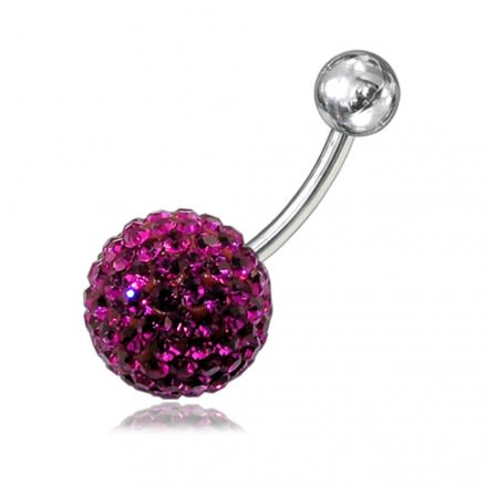 Silver With SS Curved Barbell Belly Button Ring With Pink Crystal stone