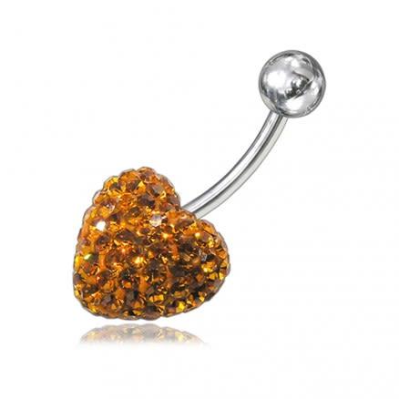 preciosa Crystal stone Heart Curved Bar Belly Ring