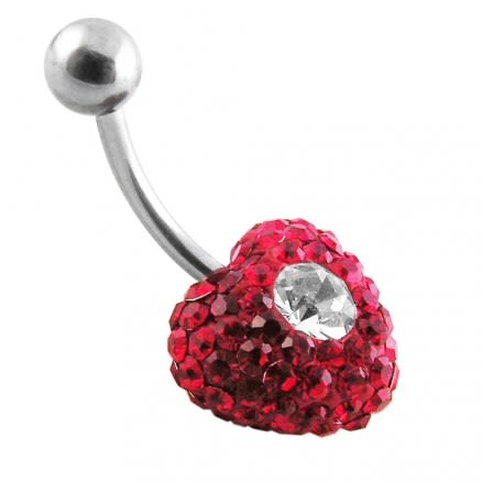 Red Crystal stone With White Dotted Heart SS Banana Bar Belly Button Ring