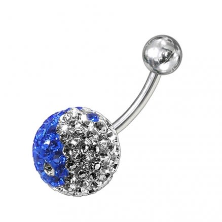 Blue And White Classic Crystal Stone Banana Belly Ring