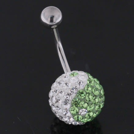 Green And White Crystal stone Jeweled SS Banana Bar Belly Ring FDBLY233