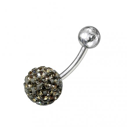 Single Color Crystal stone 316L SS Body Piercing Belly Ring