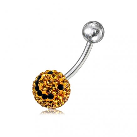 Yellow And Black Crystal stone With Banana Curved Belly Ring