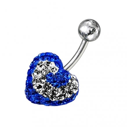 Crystal stone Royal Blue Color Heart Navel Barbell Ring