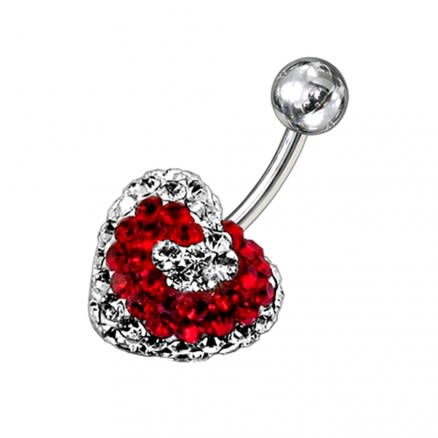 Mix Color Crystal stone Heart Navel Body Jewelry Ring FDBLY282