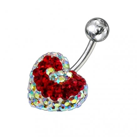 Crystal stone Heart Belly Banana Barbell Ring FDBLY283