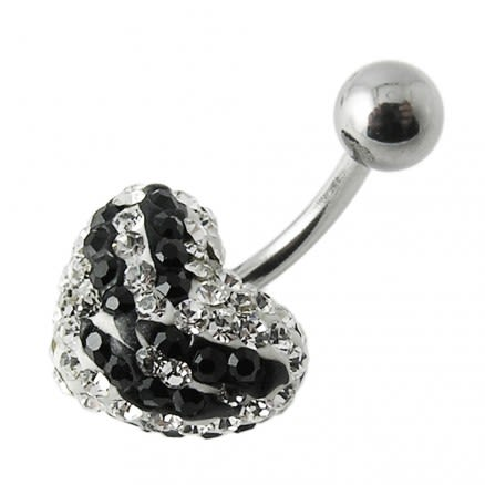 12mm Crystal stone Heart With SS Bar Banana Belly Ring FDBLY309