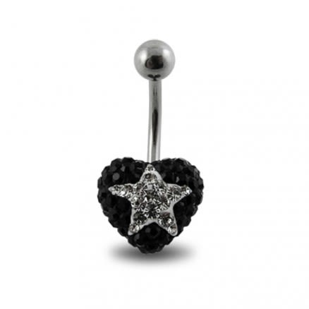 Black Crystal stone With White Star SS Banana Bar Ring