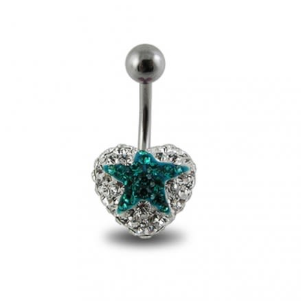 Crystal stone Star Navel Ring In Surgical Steel  FDBLY354