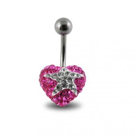 Surgical Steel With Pink And White Crystal stone Star Navel Ring FDBLY357