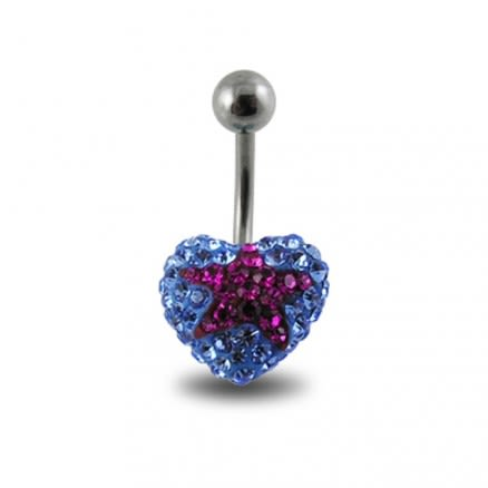 Blue Crystal stone With Red Star 316L SS Belly Ring