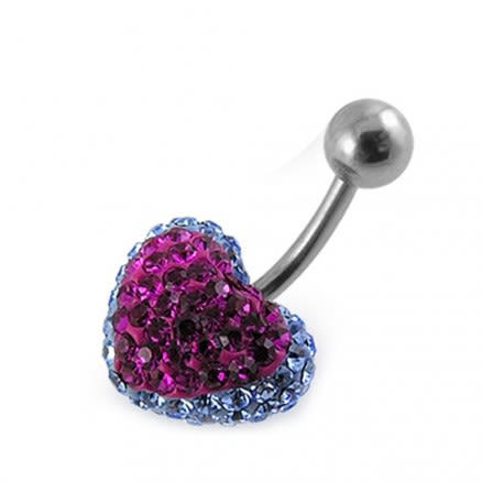 Mix Color Crystal stone Heart banana Bar Navel Belly Ring FDBLY366