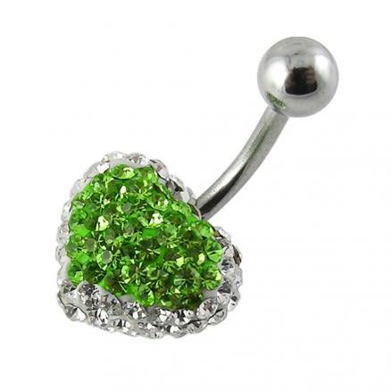 Green And White Crystal stone Fancy Heart SS Banana Bar Navel Ring