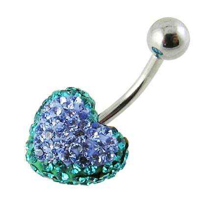 Mix Color Crystal stone Heart Curved Bar Belly Ring