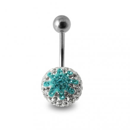 Crystal stone Studded Star SS Navel Ring Body Jewelry