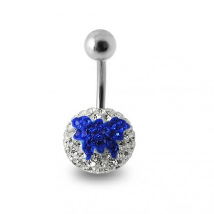 Blue Butterfly Crystal stone Studded Belly Button Ring
