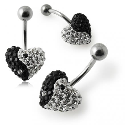 Crystal stone Heart Ying Yang Belly Ring