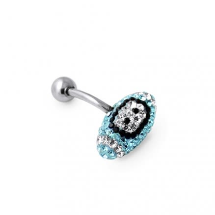 Aqua Crystal Rugby Ball Navel Belly Ring