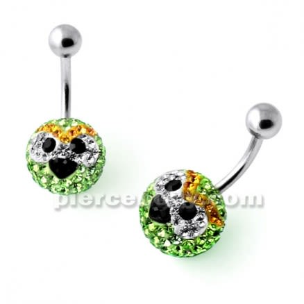 Multi Crystal stone HAL Angry Bird Navel Ring