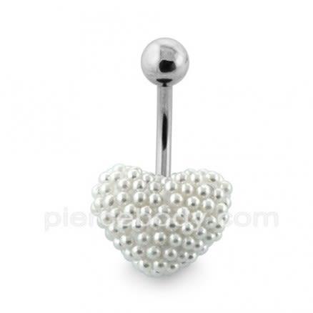 Tiny Cream Pearl balls Heart Navel Banana