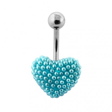 Tiny Aqua Pearl balls Heart Navel Banana