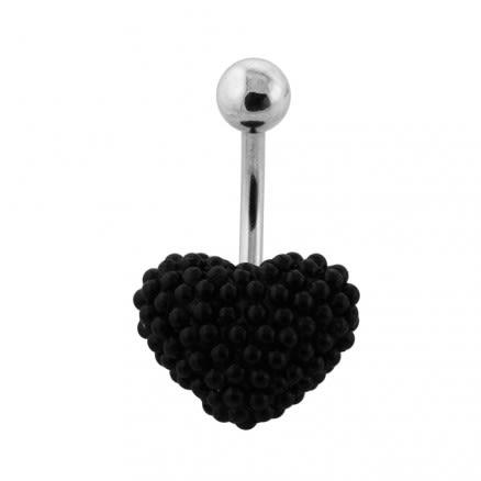 Tiny Black Pearl balls Heart Navel Banana
