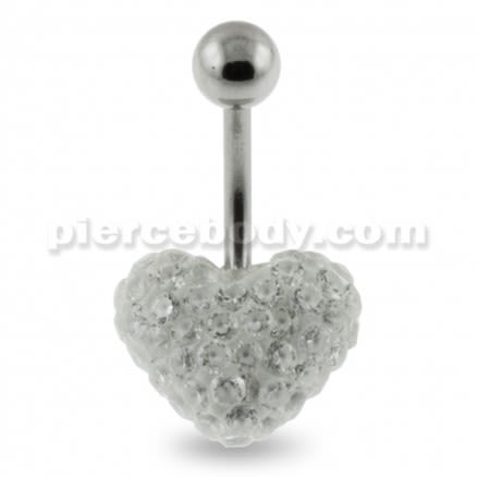 Multi Jeweled Genuine CZ Heart Belly Button Piercing