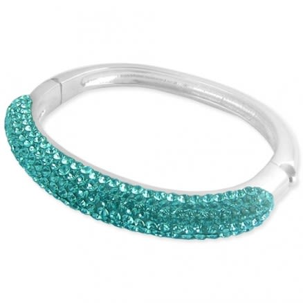 Aqua Color Crystal stones Bracelet in Surgical Steel (