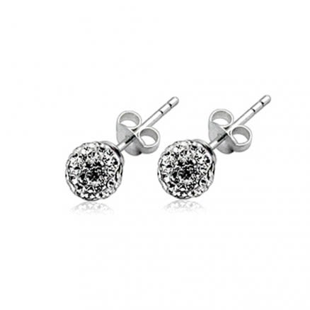 Crystal stone Ball Ear Stud
