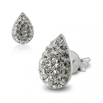 925 Sterling Silver  Crystal Tear Drop Earring