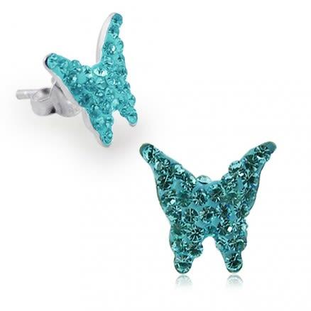 925 Sterling Silver  Crystal Butterfly Earring