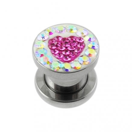 SS Screw Fit Crystal Pink Heart Ear Flesh Tunnel