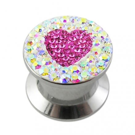 SS Screw Fit Pink Crystal Heart Ear Flesh Tunnel