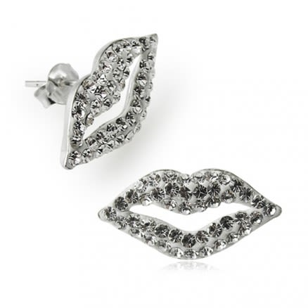 925 Sterling Silver  Crystal Lips Earring