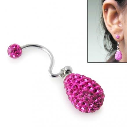 Crystal Pink stone Tear Drop Earring