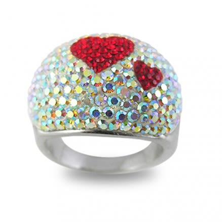 Multi Crystal Red Heart Shape Finger Ring