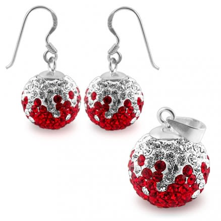Silver Jewelry Red And White Crystal stone Strawberry Earring Pendant Set