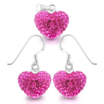 925 Sterling Silver Crystal Pink Hear Stone Silver Earring Pendant Set