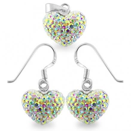 Crystal stone Heart Shape Silver Jewelry Earring Pendant Set