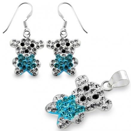 Multi Crystal stone Silver Earring Pendant Jewelry Set