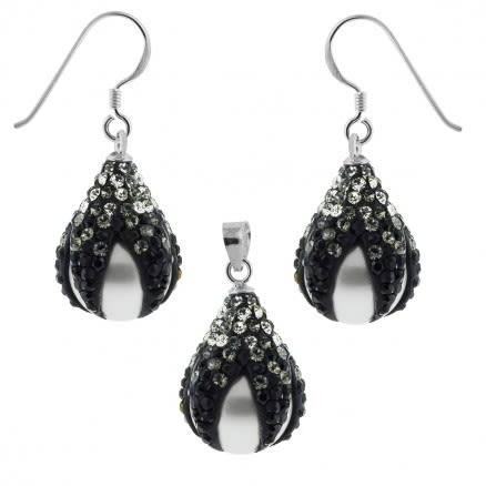 Multi Black Crystals Dragon Claw Setting over Synthetic Pearl 925 Sterling Silver Set Jewelry