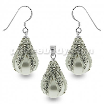 Multi White Crystals Dragon Claw Setting over Synthetic Pearl 925 Sterling Silver Set Jewelry
