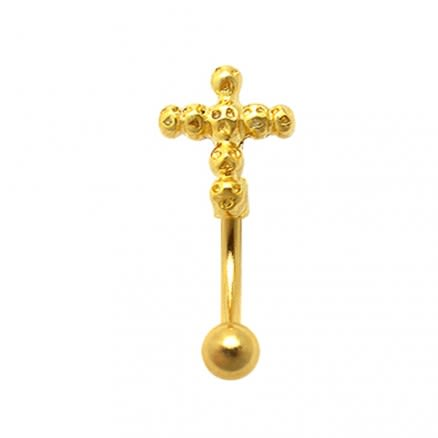 Gold Plated Gothic Skulls Cross Eyebrow Ring