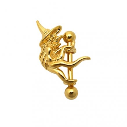 Gold Plated withch on Barbell Eyebrow Ring